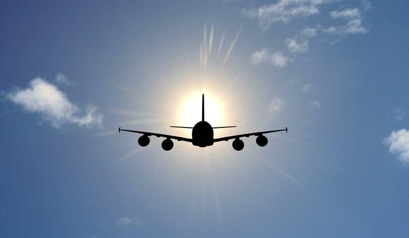 Airplane in sun